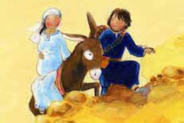 Afbeelding van Maria die zit op de ezel en jozef loopt ernaast.